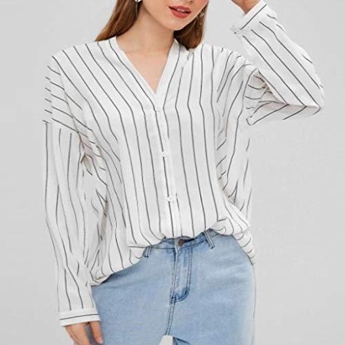 Plus Größe Karriere Tragen (TEELONG Bluse Damen V-Ausschnitt Lange Streifen Ärmel Plus Size Tank Karriere Bloues T-Shirt Blusen Tunika Westen Sweatshirts(XXL, Weiß))