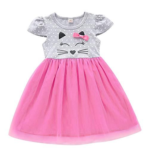 Caerling Baby Kleidung Set - Baby Mädchen Kleider Baumwolle Prinzessin Kostüm Neugeborene Kurzärmliges Bow Mesh Nähen Kleid