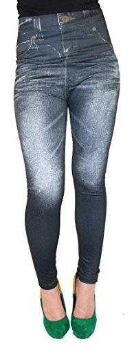 Leggings Stretch breiter Bund Jeans Optik Jeggings Treggings Leggings Gr 36-42B