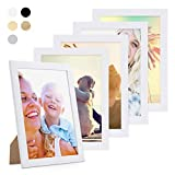 Photolini Lot de 5 Cadres 21x30 cm/DIN A4 Collection Basique Moderne Blanc en MDF Comprenant Accessoires/Collage de Photos/galerie d'images/Multi Cadre Photo Mural
