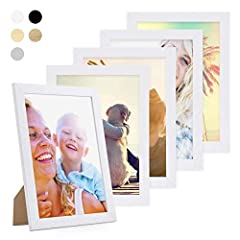 Idea Regalo - Photolini Set di 5 cornici per Foto da 21x30 cm/DIN A4 Basic Collection Modern Bianco in MDF, Accessori Inclusi/Collage Foto/Galleria Fotografica