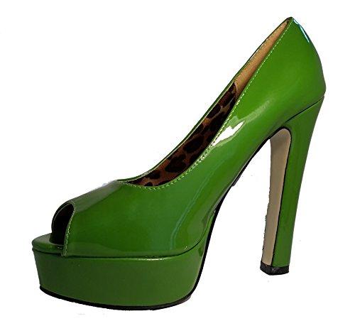Talons hauts, Stiletto Pumps High Heels Peep Toe, rouge, rose, vert, orange, pink, noir, léopard, chocolat, glossy, modèle 11064102009030, modèles et tailles différents. Vert léopard,