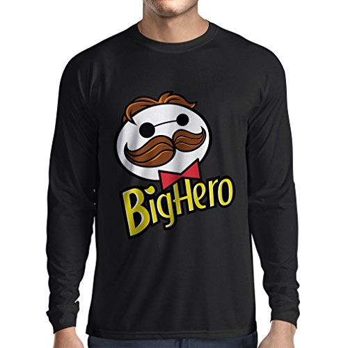 N4423L T-Shirt mit Langen Ärmeln Big Hero (XXX-Large Schwarz Mehrfarben)