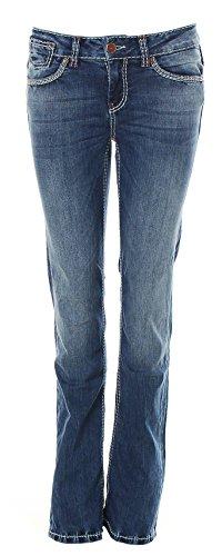 SOCCX Damen Jeans Jeanshose Comfort Fit High Waist Boot Cut Dark Used