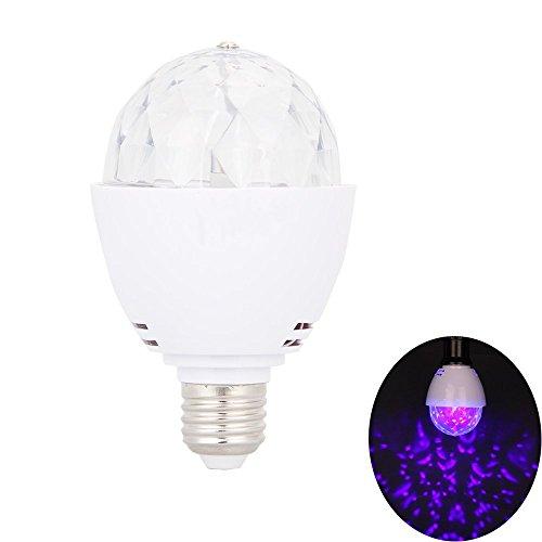 Hazigoon LED-Schwarzlicht-Birne LED-UVstadiums-Licht E26 ultraviolette drehende Birnen DJ KTV Partei-Pub-Verein-Disco- Kugel 3W 390nm ()