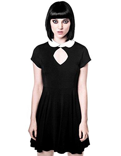 Killstar Damen Okkult Minikleid - Bad Habiits Mini Kleid mit Bubikragen XL (Wednesday Addams Kleid)
