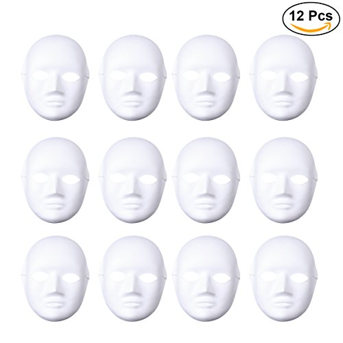 LUOEM 12pcs Halloween Mask Female Full Face Mask White DIY Mask Dance Cosplay Masquerade Party Mask