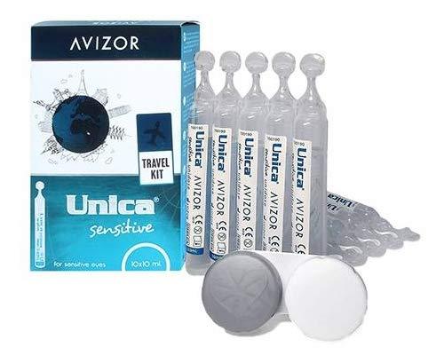 Einzeldosislösung Avizor Unica Sensitive. Einzeldosis 10 Einheiten à 10 ml. Ein-Dosis-Kontaktlinsenflüssigkeit für weiche Kontaktlinsen. -