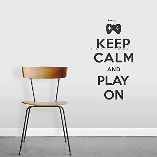 jiushizq Behalten Sie Ruhe und Spielen Sie auf Zitat-Abziehbild für Spielzimmer-Dekoration-entfernbare Vinylwand-Aufkleber- Ausgangsdekor- Wohnzimmer-Kunst-Wandbild Z 56x119cm (Halloween-dekoration Australien Online)