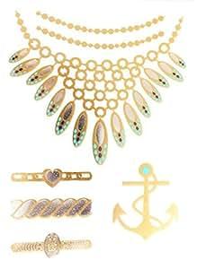 réf112LT. 136–Tattoo Ephémère Gold–temporäre Tätowierungen Gold Silber und Blau Türkis–Brett Anker Halskette Pfau