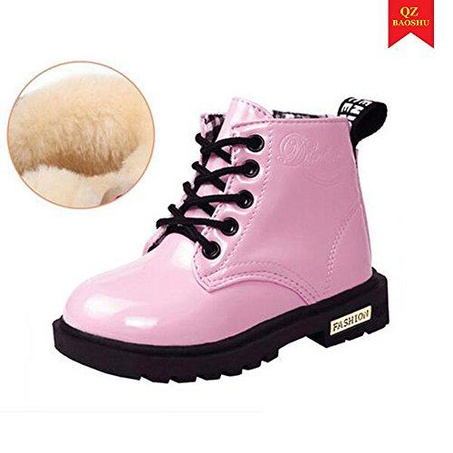 Kleine Mädchen-schnee-stiefel (QZBAOSHU Baby Jungen Mädchen Stiefeletten Wasserdichte Schneeschuhe für 2-12 Jahre alte Kinder (25: Fußlänge 13,5 cm, Rosa: Plüsch innen))