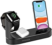 Promate Wireless Charging Station for iPhone and Apple Watch, 10W Qi Fast Charging, Black
