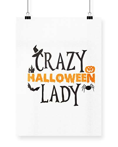 Crazy Lady Cat Kostüme (hippowarehouse Crazy Halloween Lady Poster Druck Wall Art Design A4)