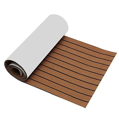 *YOUTTOO Teakholz-Terrassendielen, 2400 x 600 x 6 mm, EVA-Schaum, Braun mit schwarzer Linie, Bootsboden aus Teak-Kunststoff*