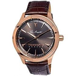 Triarrows Classic Herren-Armbanduhr 45mm Armband Leder Braun Gehäuse Edelstahl Quarz Analog TGY03