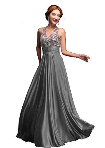 Beauty-Emily V-Ausschnitt Pailletten lange formale Abend-Kleider Chiffon- Partei-Kleid Farbe grau, Größe 32 -