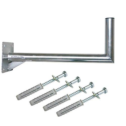 PremiumX 60cm Wandhalter Stahl verzinkt SAT Antenne Wandhalterung Wand Montage Halter Wandabstand 60 cm mit Verstrebung + Fischer Schraubensatz für Wand Montage (Sat Antenne Montage)