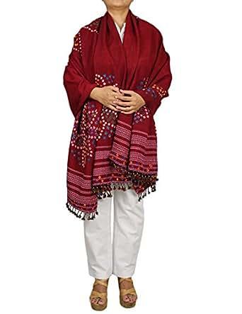 Vintage châle rouge bordeaux Tie Dye main laine Accessoires femmes