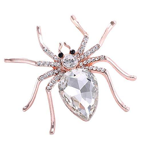 Cool Ring Spinne Perlenbrosche Pin Metallschmuck Zubehör Unisex Charm Geschenk (White) (Spinnen Ringe)