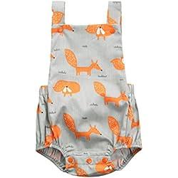 PAOLIAN Ropa para bebé niñas Monos Verano Impresion de Fox y Plantas Mameluco Sin respaldo Fiestas Conjuntos para recién nacidos bebés niñas de 3 Meses - 24 Meses (100, Gris)