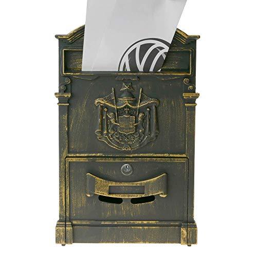 PrimeMatik – Briefkasten Postkasten Retro Antik Vintage metallische Schwarze Oxid für wallmount - 7
