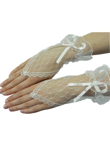 Yummy Bee - Kurze Fingerlose Handschuhe mit Spitze Damen (Weiße Erwachsene Handschuhe Kurze Fingerlose)