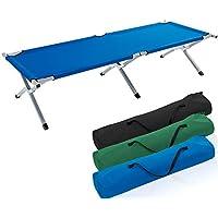 TRESKO Cama Plegable de Camping XL | Camilla para Acampar | catre portátil para Invitados | Tumbona para Exterior e Interior | 190 x 64 x 44 cm - soporta hasta 150 kg, Bolsa de Transporte (Azul)