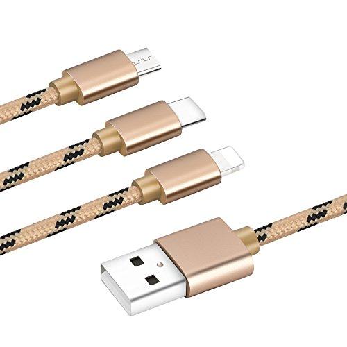 Bolatus M-Series - Cavo di Ricarica Multiplo 3 in 1, connettore per Telefono Cellulare, Adattatore Universale Compatibile con telefoni cellulari X 8, 7 Plus, S9, Note Tablet e Altri