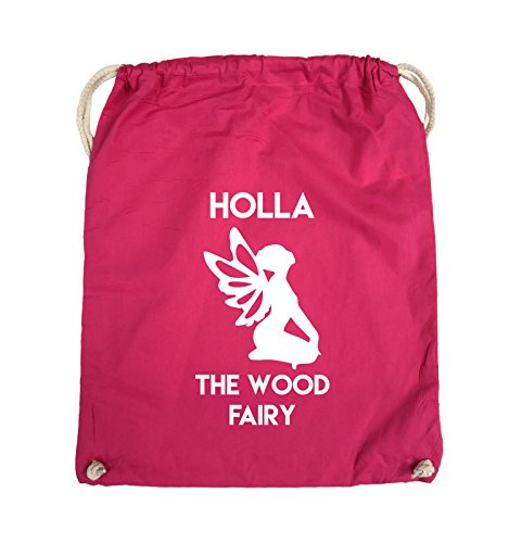 Comedy Bags - HOLLA THE WOOD FAIRY - Turnbeutel - 37x46cm - Farbe: Schwarz / Silber Pink / Weiss