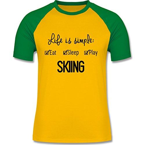 Wintersport - Life is simple Skiing - zweifarbiges Baseballshirt für Männer Gelb/Grün