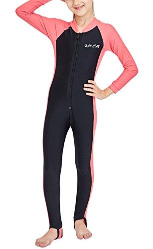 HaoLian - Bañador de Natación para Niñas Ropa de Baño de Una Pieza de Manga Larga para Surf Buceo Playa Rosa - Talla L/ES 5-6 Años