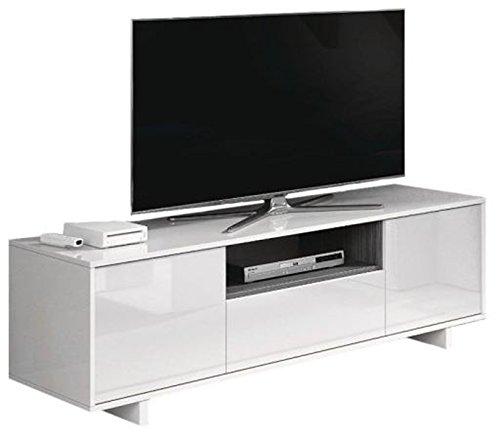 PEGANE Meuble TV en mélamine Blanc Brillant et frêne - Dim : L150 x P41 x H46 cm