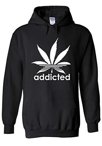 PatPat Store Addicted Cannabis Weed Smoke Logo Novelty Black Men Women Unisex Hooded Sweatshirt Hoodie-XXL -