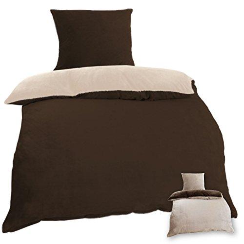 Wende-Bettwäsche Cashmere Touch Plüsch mit und ohne Daunen Federfüllung, Bettdecke 135x200 cm + Kissen 80x80 cm, gemütlich und weich in vielen erhältlich (Dunkelbraun - Taupe)