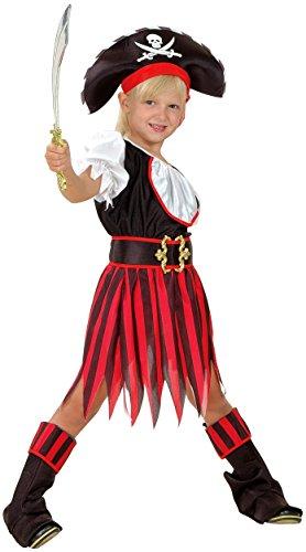 Magicoo Karibische Piratin - Piraten Kostüm Kinder Mädchen rot-schwarz-weiß - Piratin Kostüm Kinder (Piraten Kapitän Kleinkind Kostüm)