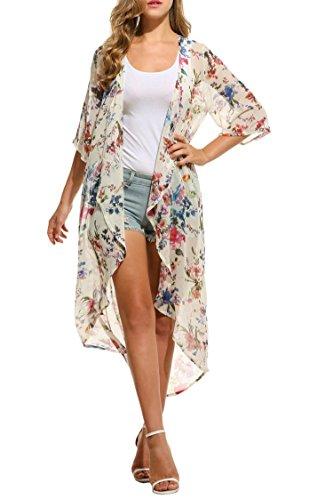 Keland Damen Cardigan Chiffon Floral Print Kimono Sommerkleid Schal Tops Weiß