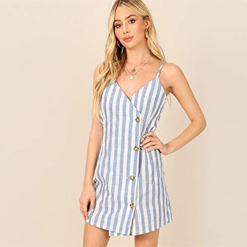 DELI Strand Blau Einreiher Wrap GestreiftesMantel Kurzes Kleid Frauen Frühling Elegante Strap A Line Kleider Wrap-swing-mantel
