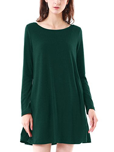 Summer Mae Damen Langarm Casual Lose T Shirt Kleid mit Taschen Grün,L (EU 38-40),Grün 1 (Grünes Kleid Shirt)
