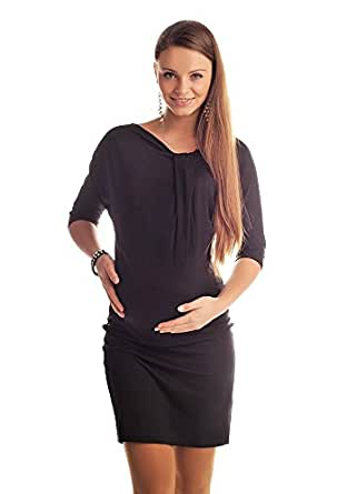 New Maternity Batwing Dress Tunic Pregnancy Clothing Size 8 10 12 14 16 18 6407 (8/10, Black)