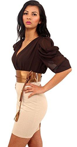 Neuen Frauen Chiffon- drapierter Sleeve Two Tone Rope Kleid mit Gürtel 36-42 Chocolate-Stone