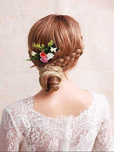 Simsly Bride Blumen-Hochzeits-Haarkamm, Brautschmuck, Blumen-Accessoires, Blätter für Damen und Mädchen