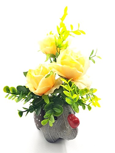 Imported Eternal Bouquet ~ Yellow Elephant Shaped Flower Vase With Artificial Flowers...