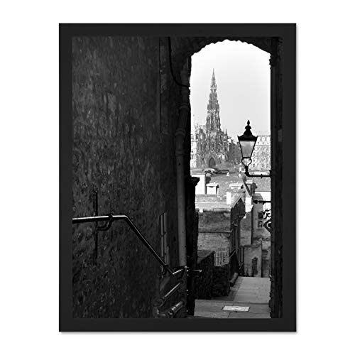Lane Old Print (Doppelganger33 LTD Cityscape Old Lane Scott Monument Edinburgh Art Large Framed Art Print Poster Wall Decor 18x24 inch Supplied Ready to Hang)