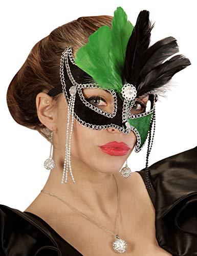 WIDMANN Genérico-Lobo bicolor verde y negro con plumas mujer