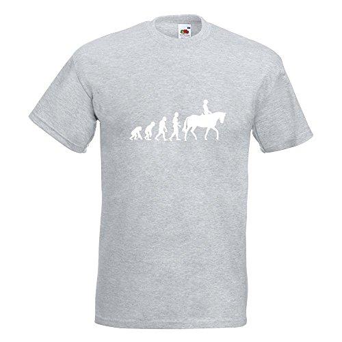 KIWISTAR - Evolution Pferdesport T-Shirt in 15 verschiedenen Farben - Herren Funshirt bedruckt Design Sprüche Spruch Motive Oberteil Baumwolle Print Größe S M L XL XXL Graumeliert