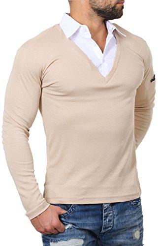 ReRock Herren 2in1 Longsleeve Hemd Kragen Shirt Pullover Langarm mit tiefem V-Ausschnitt einfarbig Slimfit Stretch, Grösse:S, Farbe:Beige (Hemd Und Pullover)