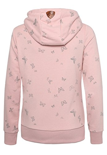 Sublevel Damen Sweathoodie mit Allover Print Schmetterlinge I Bequemer Kapuzenpullover Hoodie mit Aufdruck light-rose