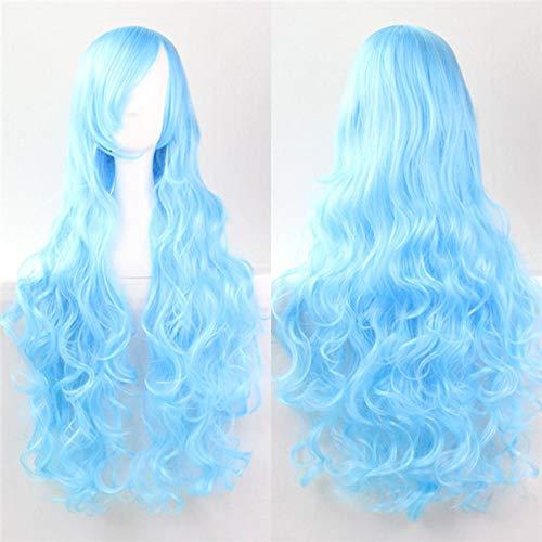 COOOOEENS Synthetische Perücken Für Cosplay Frauen Hitzebeständige hellblaue Farbe Lockige Perücke Lange 80 cm (Lange Hellblaue Perücke)