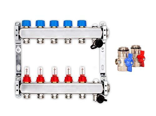 Distribuidor para calefacción de suelo radiante, 5 de calefacción de círculos