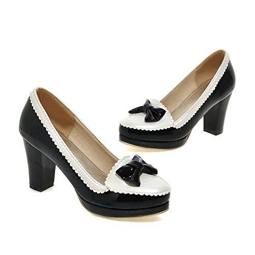 Damen Gemischte Farbe PU Leder Rund Zehe Reißverschluss Pumps Schuhe, Blau, 39 AllhqFashion